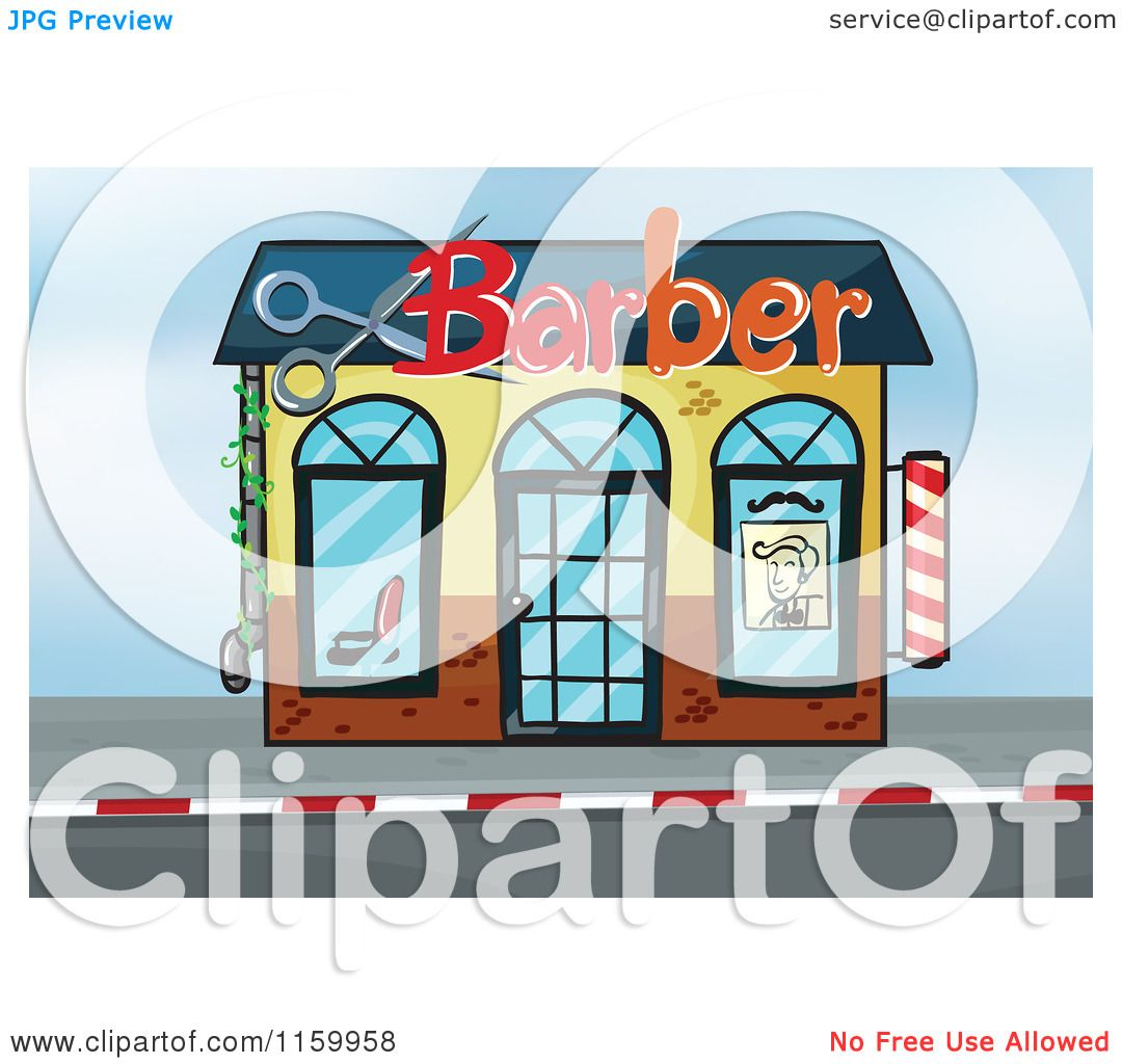Cartoon of a Barber Shop Building Facade.