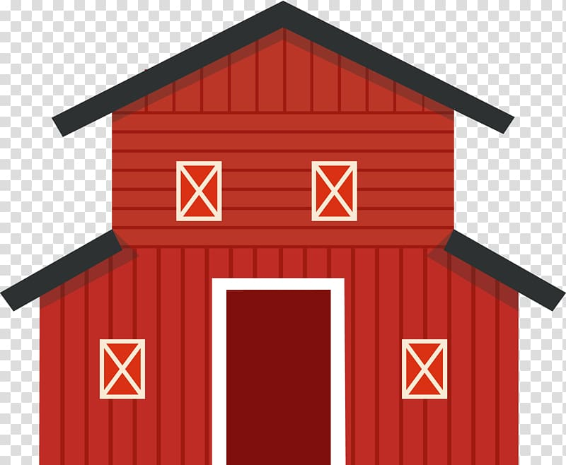 Cartoon Icon, Red cartoon barn transparent background PNG.