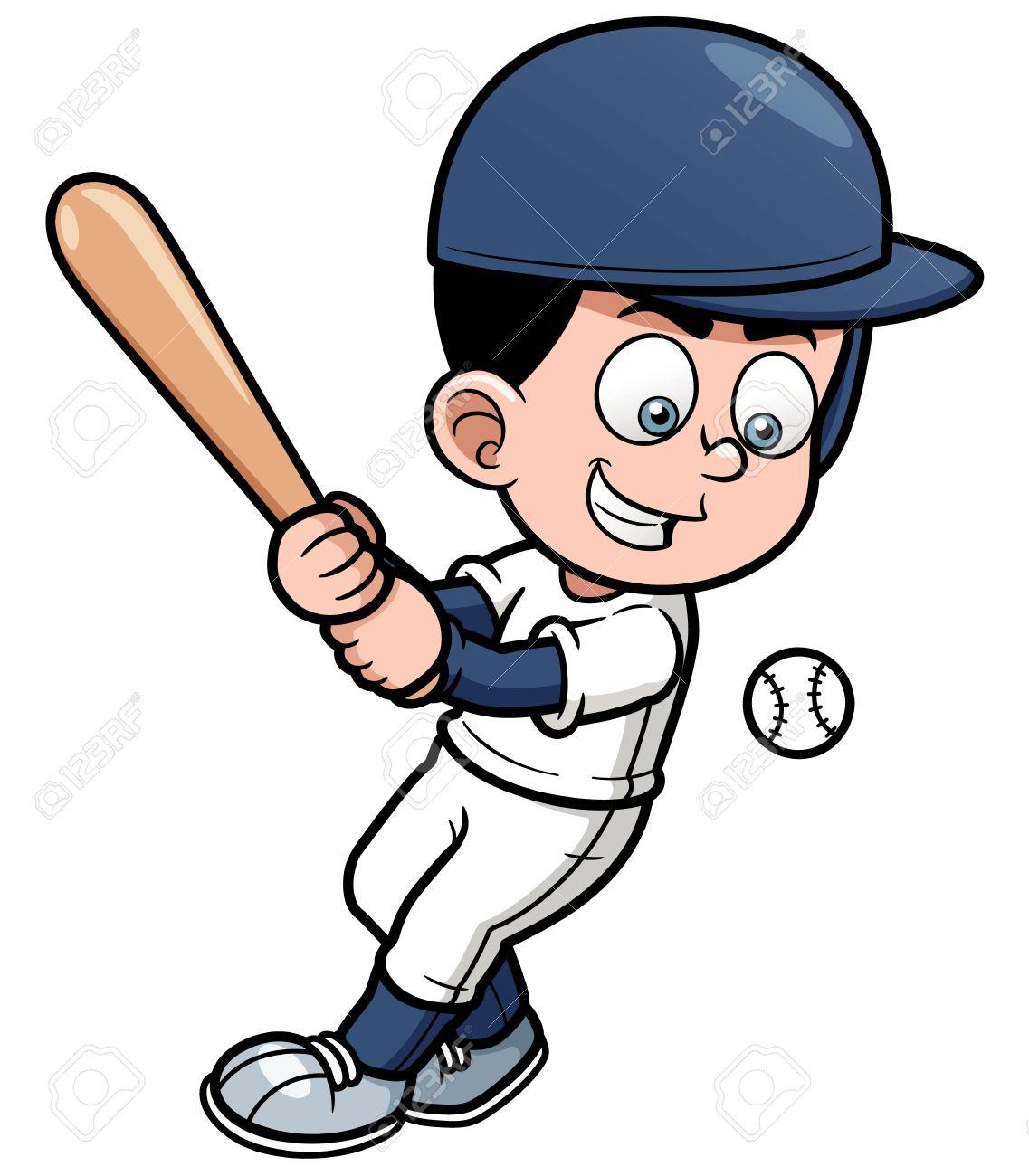 illustration of Cartoon Baseball Player.