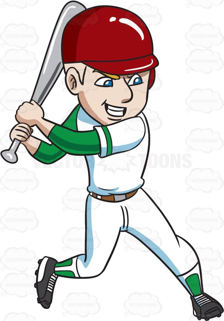 A baseball player about to aggressively hit a ball #cartoon #clipart.