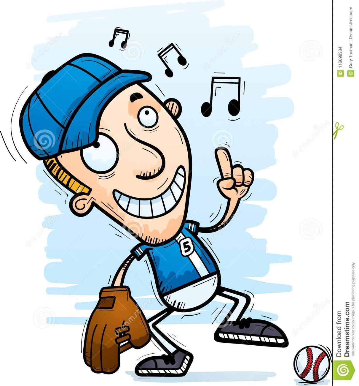 Cartoon Baseball Player Dancing Stock Vector.