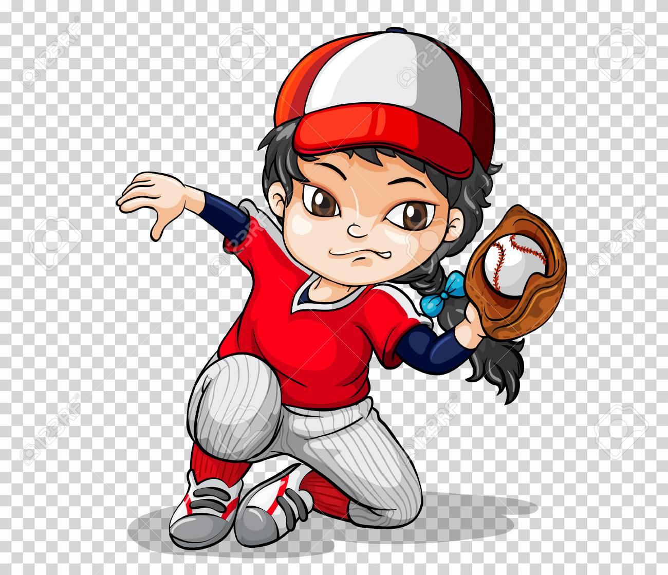 Girl baseball player on transparent background illustration.
