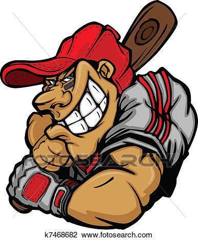 Cartoon Baseball Player Batting Vec Clipart.