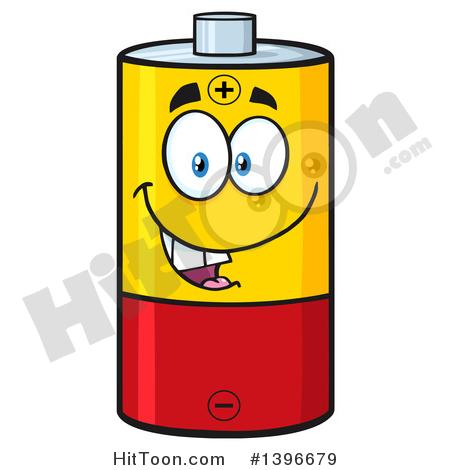 Battery Character Clipart #1396679: Cartoon Battery Character Mascot.