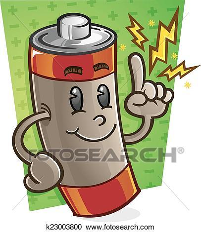 Battery Cartoon Character Clipart.