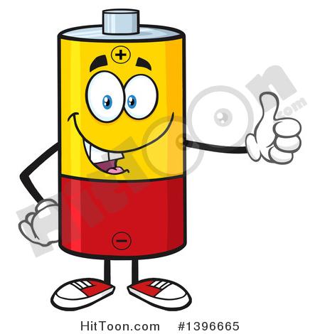 Battery Character Clipart #1396665: Cartoon Battery Character Mascot.