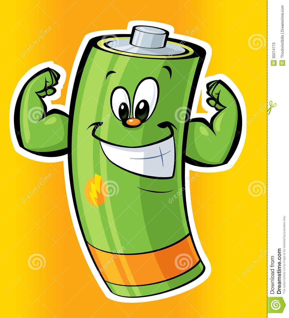 Happy Super Strong Cartoon Battery Stock Illustration.