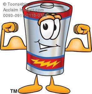 Clipart Cartoon Battery Flexing.