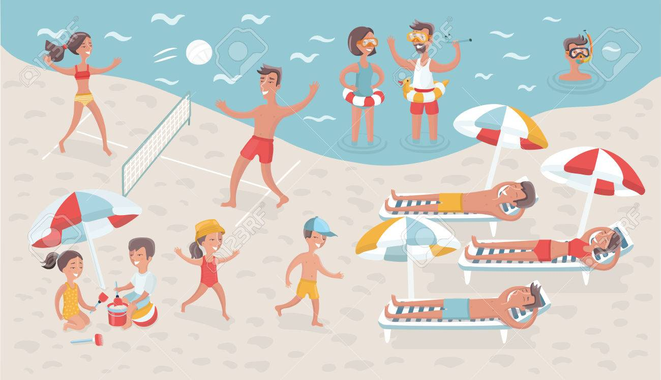 Vector cartoon funny illustration of scene of people relax on...