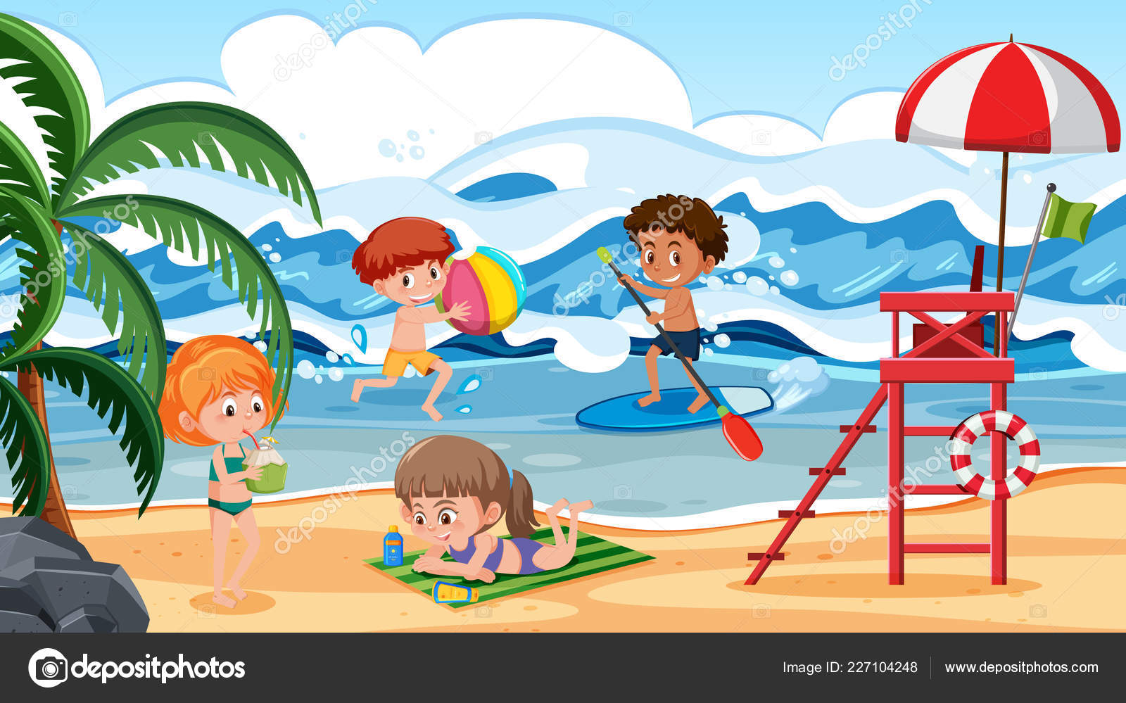 Children Having Fun Beach Scene Illustration — Stock Vector © brgfx.