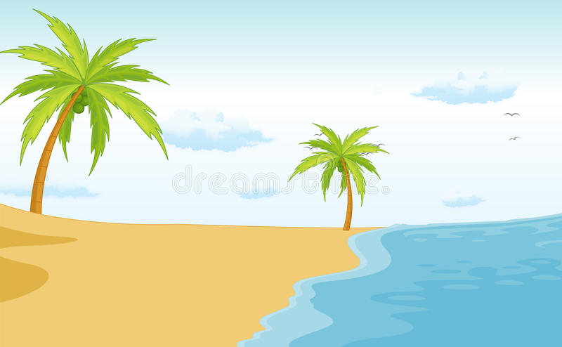 Cartoon Beach Scene Stock Illustrations.