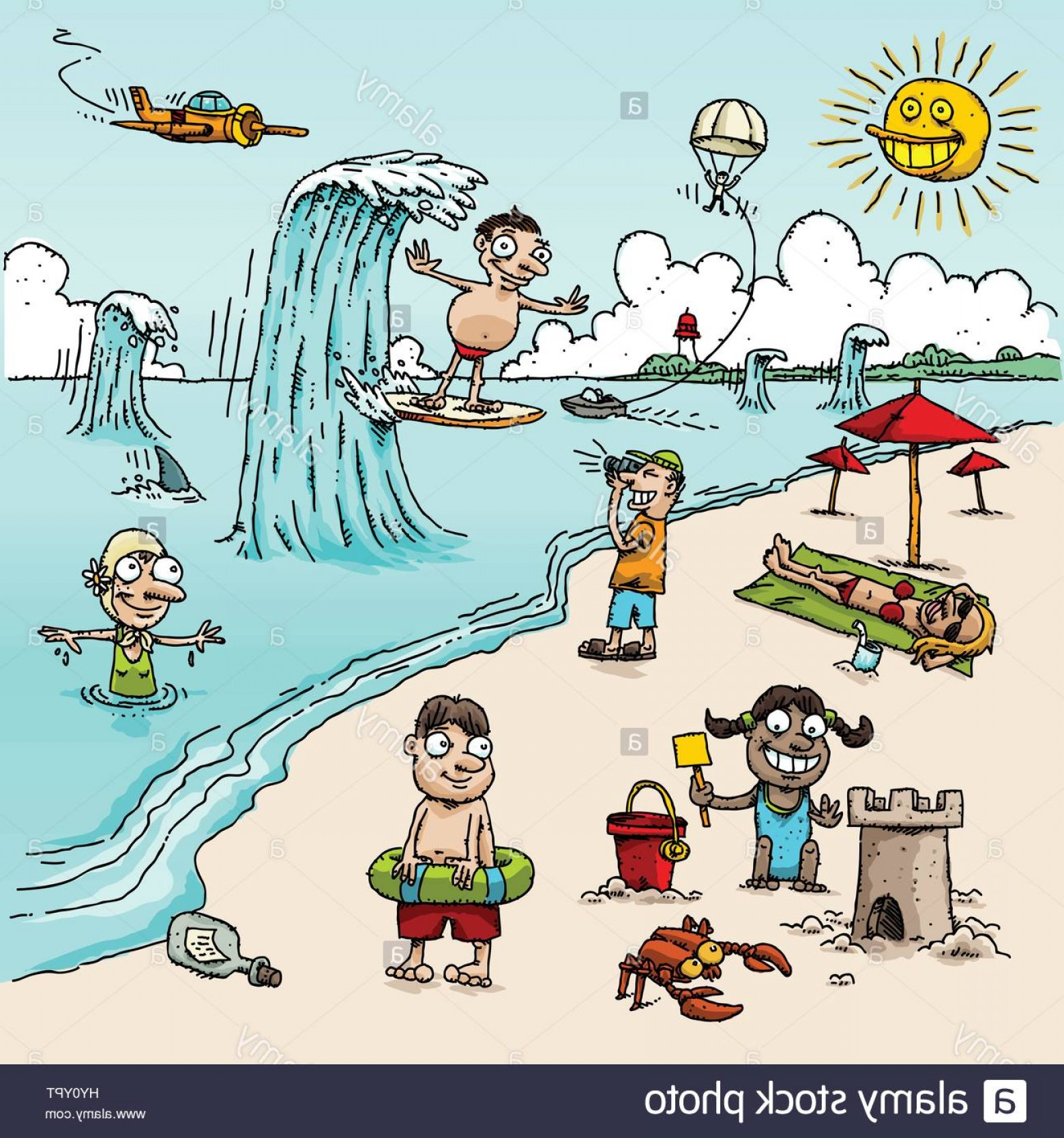 Stock Photo A Vector Cartoon Beach Scene With People In Different.