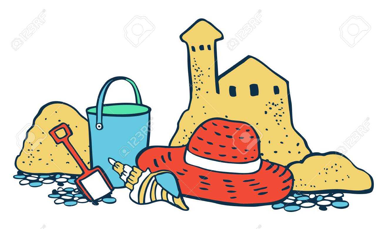 Beach scene. Sand castle, hat and bucket on the sand. Vector...