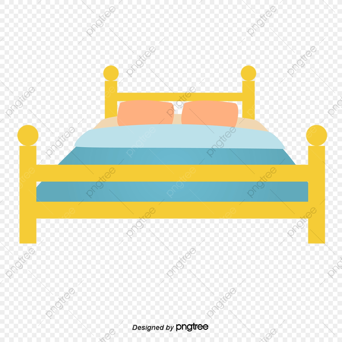 A Cartoon Bed, Cartoon Vector, Cartoon, Bed PNG and Vector with.