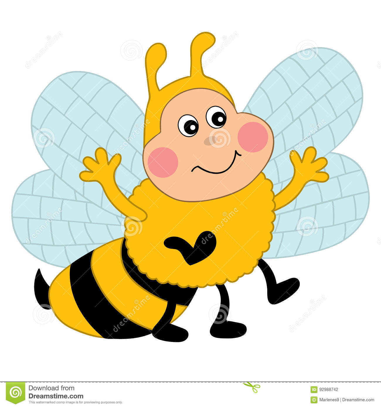Vector Cartoon Bee, Bee Clipart Stock Vector.
