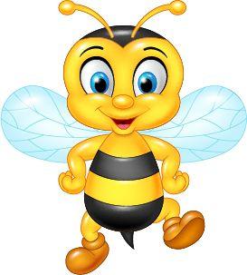 Cartoon cute bee vector 02.