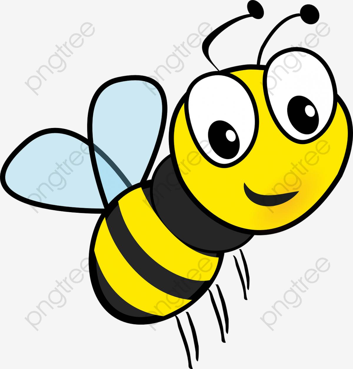 Flying Cartoon Bee, Cartoon Clipart, Bee Clipart, Flight PNG.