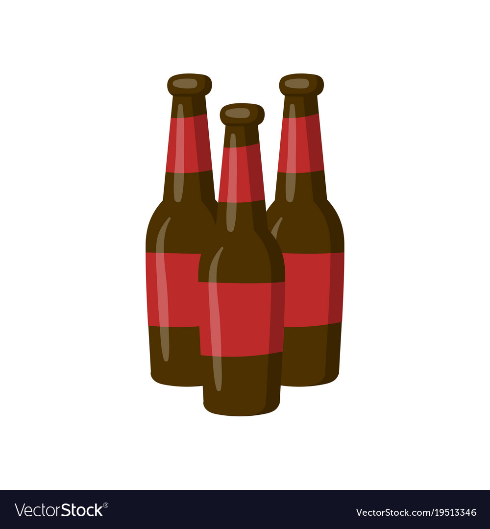 Three bottles of beer cartoon.
