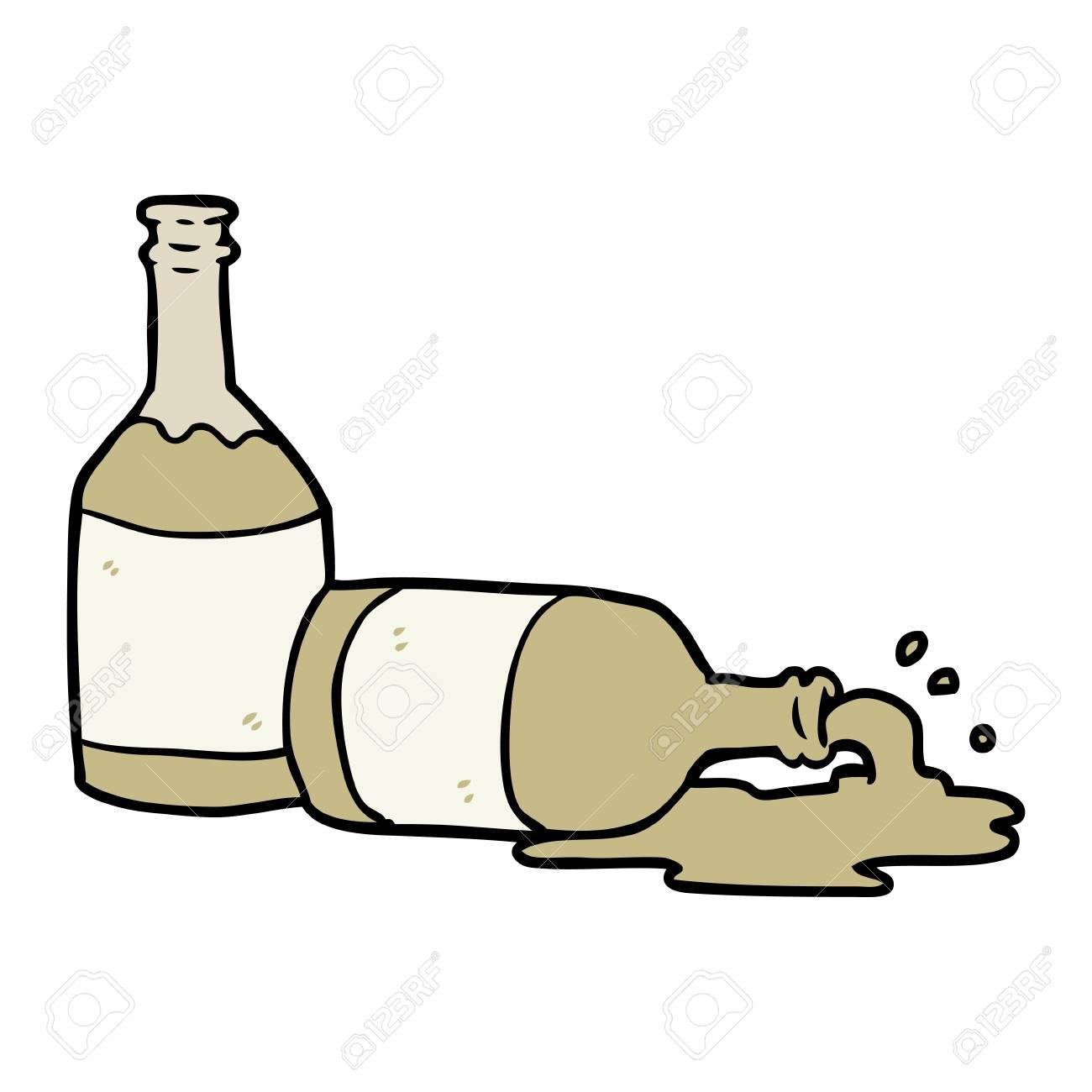 cartoon beer bottles with spilled beer.