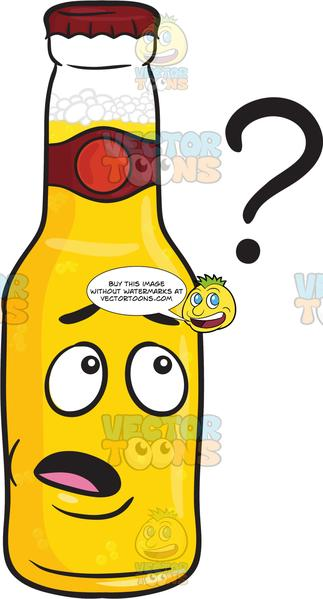 Clueless Bottle Of Beer Looking At Floating Question Mark Emoji.