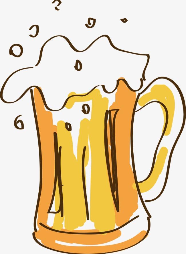 Hand Painted Cartoon Beer, Cartoon Clipart, Beer Clipart, Beer PNG.
