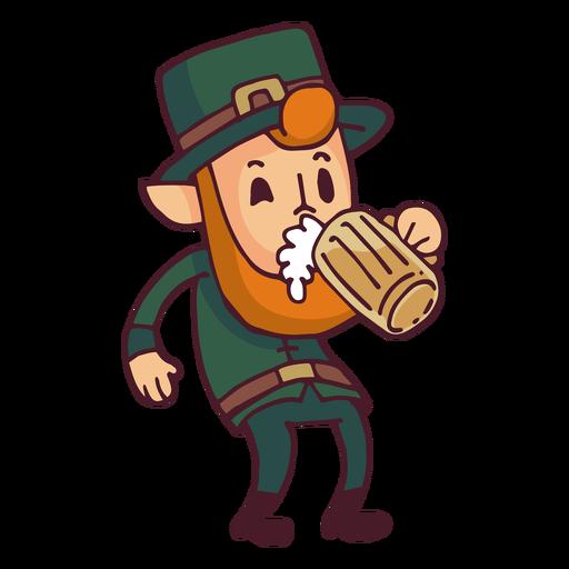 Leprechaun drinking beer cartoon.