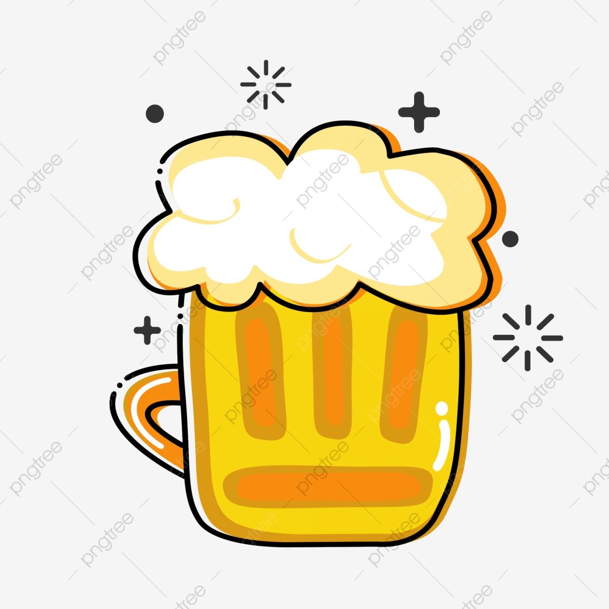 Cartoon Beer Summer Cold Drink Hand Drawn Beer Mbe Style Beer, Cute.