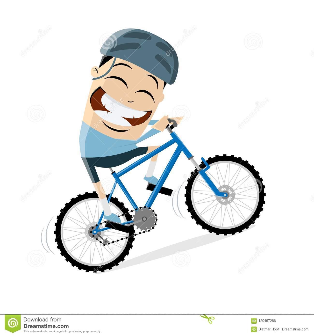Funny Cartoon Man Is Riding A Mountain Bike Stock Vector.