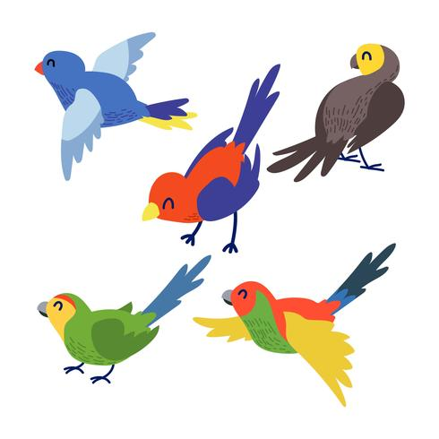Cute Bird Clipart Set.