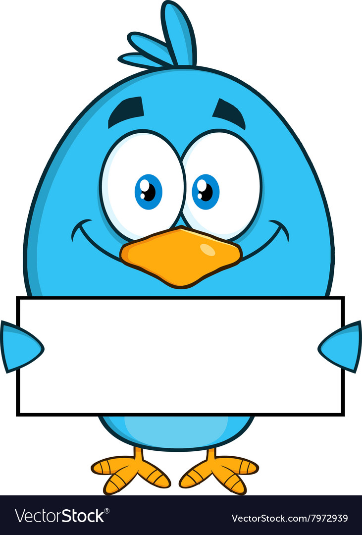 Royalty Free RF Clipart Smiling Blue Bird Cartoon.
