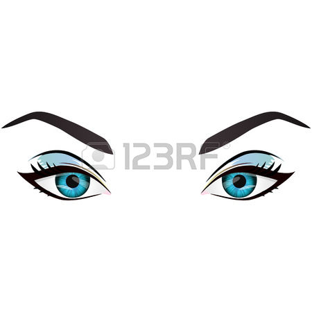 Realistic Cartoon Vector Female Blue Eyes And Eyebrows And Fashion.