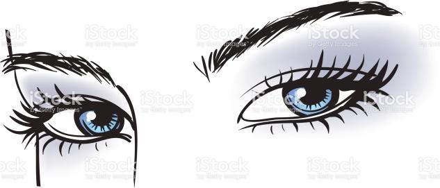 Illustration Of Blue Eyes With Long Eyelashes stock vector art.