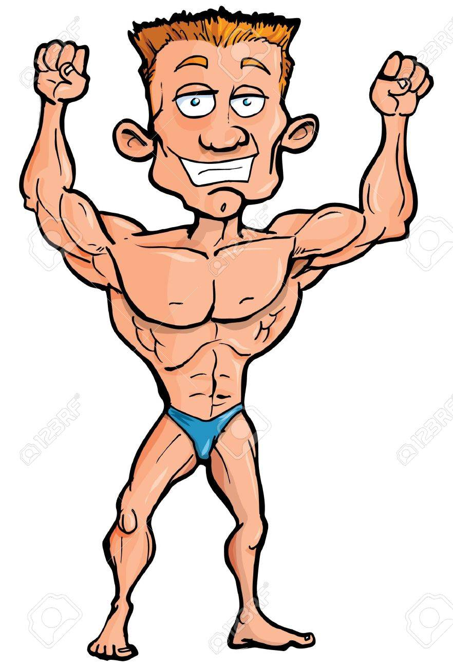 Cartoon body builder flexing his muscles. Isolated on white.