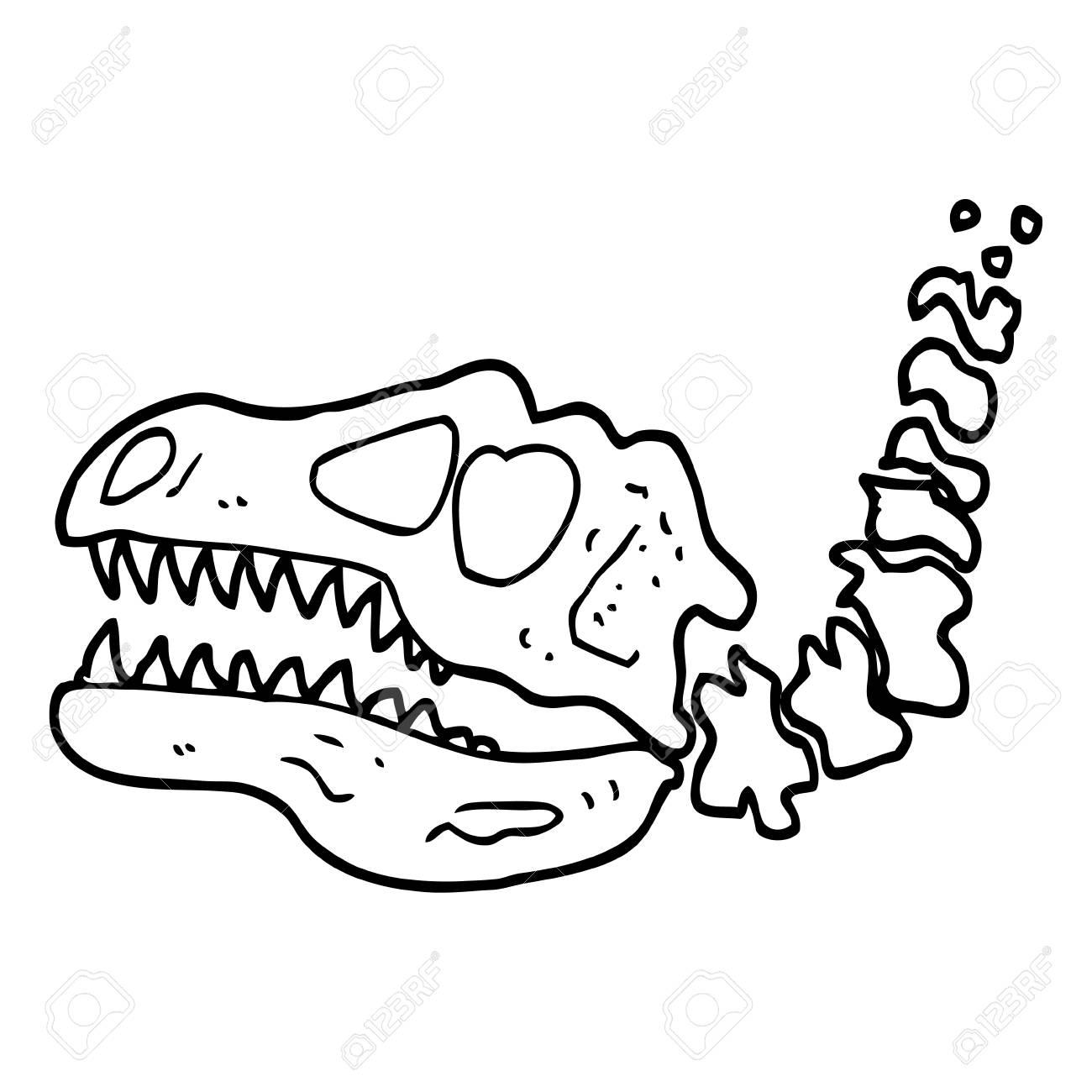 black and white cartoon dinosaur bones.