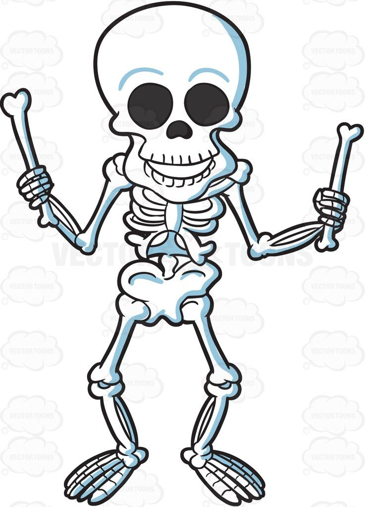 A skeleton playing with bones #cartoon #clipart #vector #vectortoons.