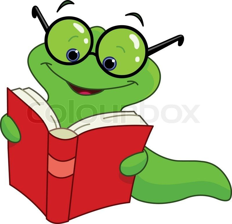 Book Worm Speedreading Animated Clipart.