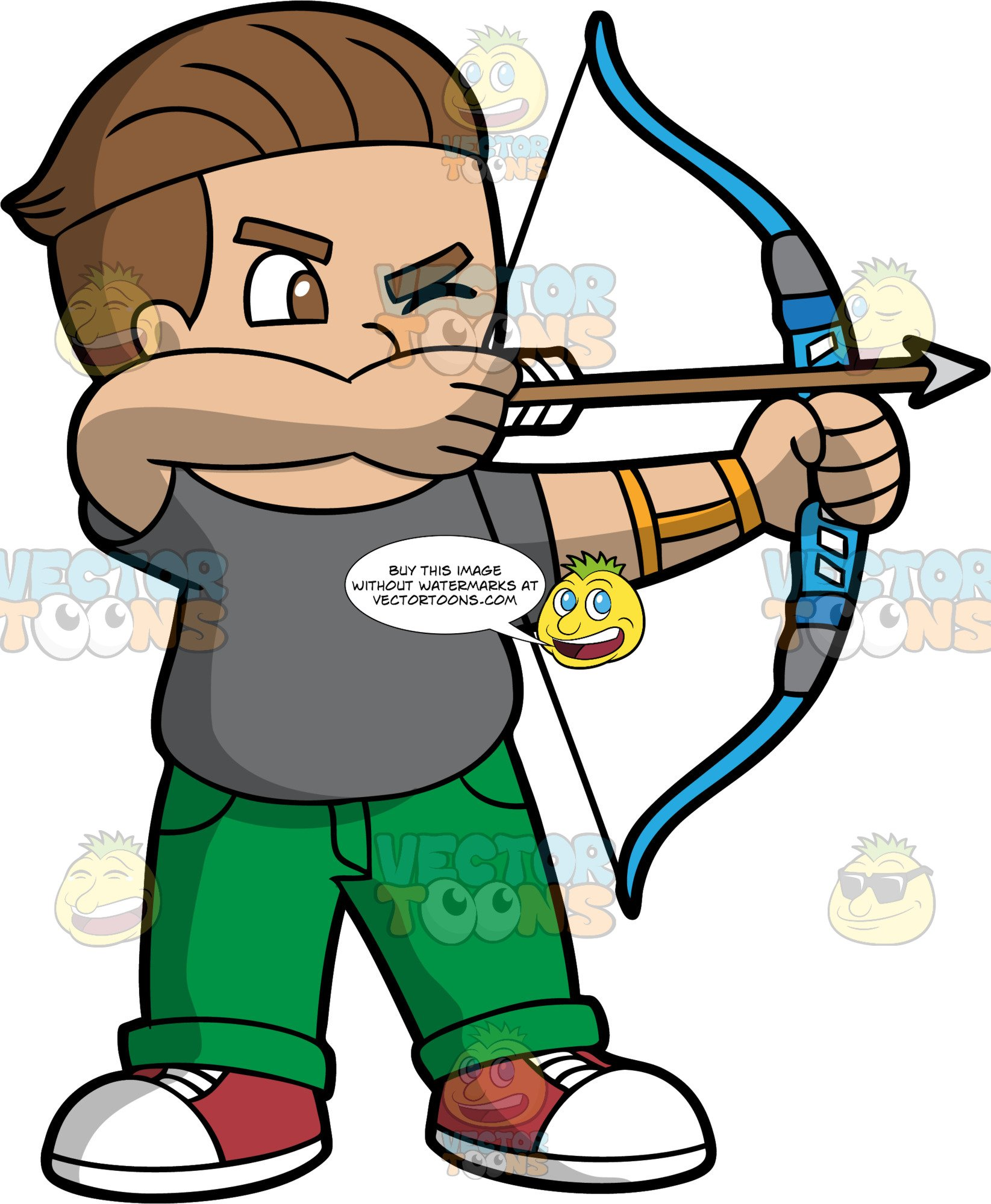 Light Skinned Boy Holding A Bow And Arrow.