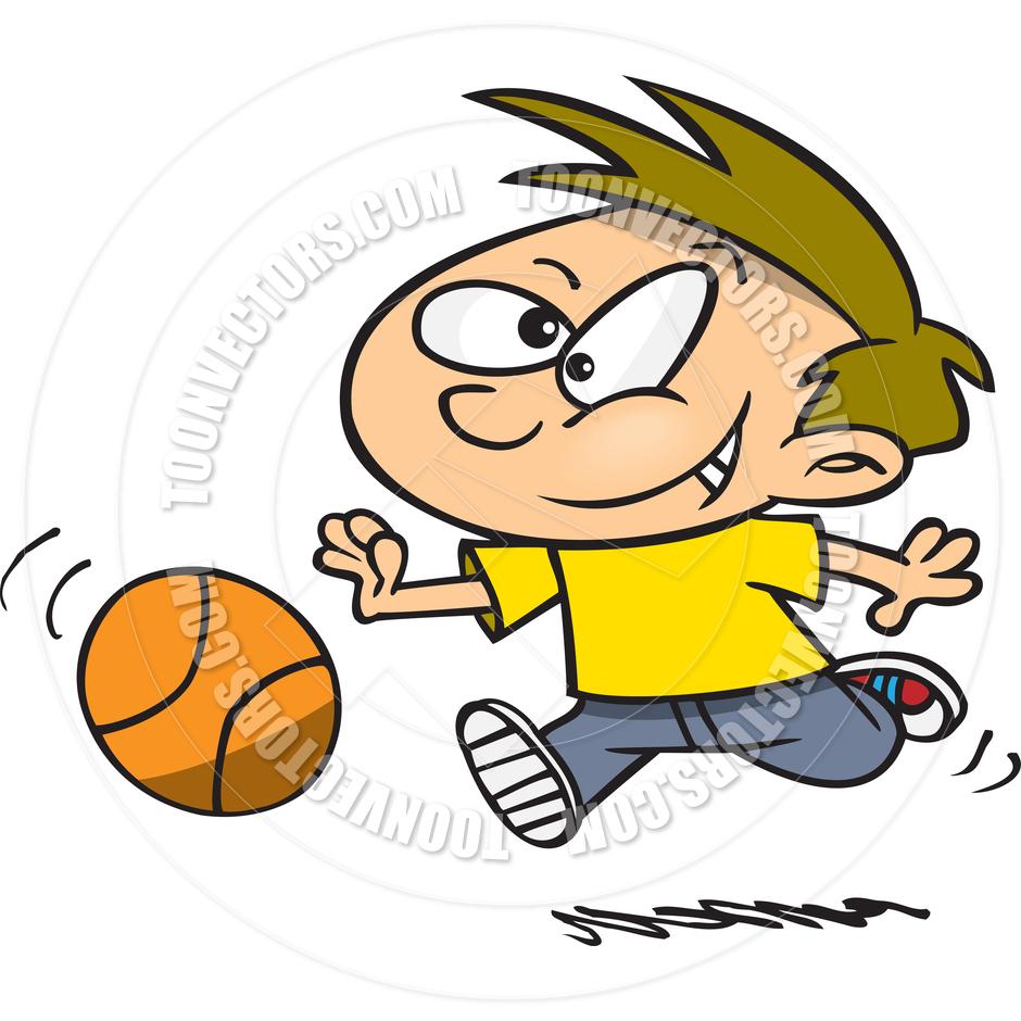 Boy Playing Basketball Clipart.