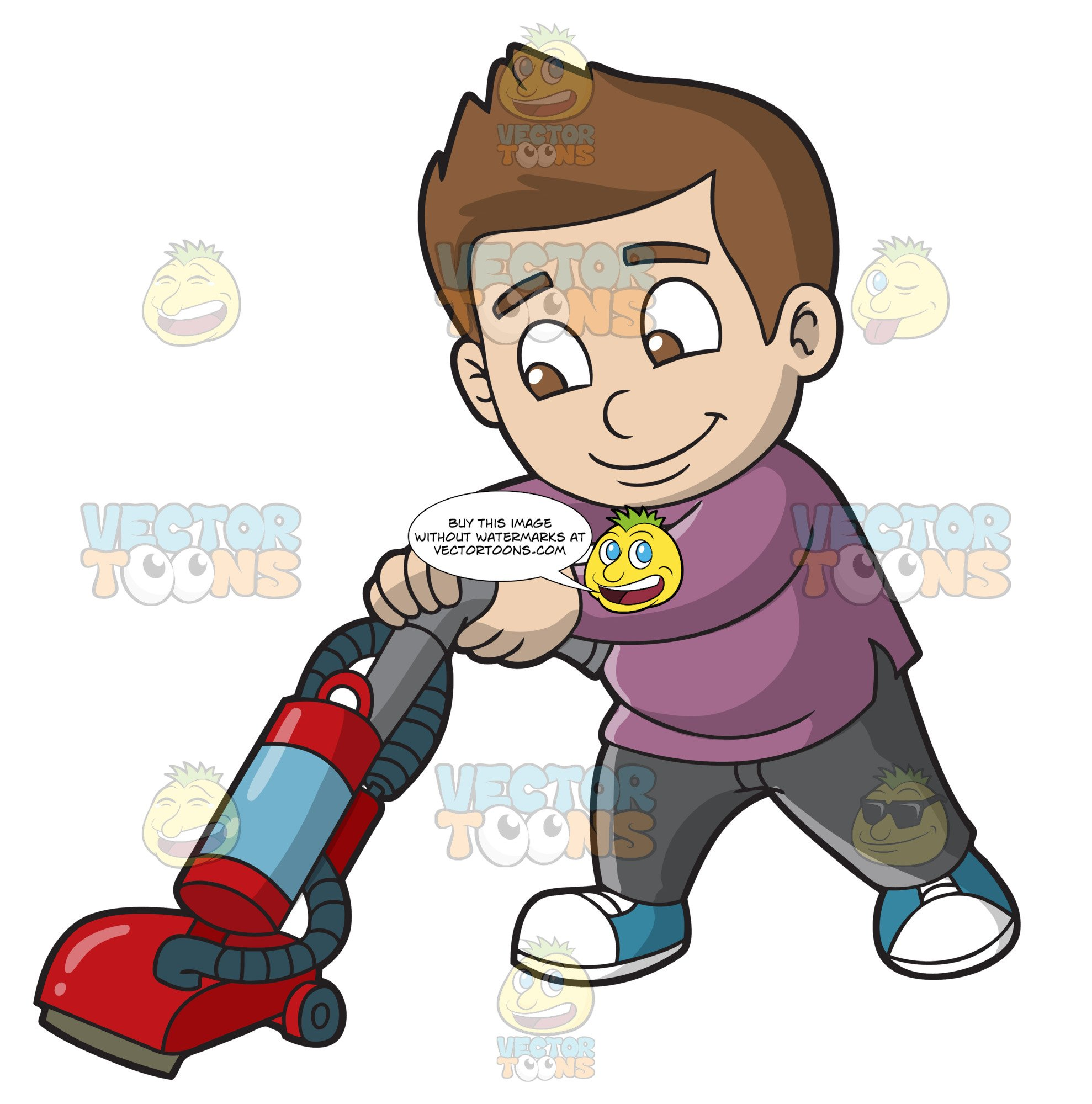 A Boy Vacuuming The Floor.