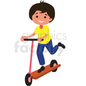 cartoon boy riding scooter clipart. Royalty.
