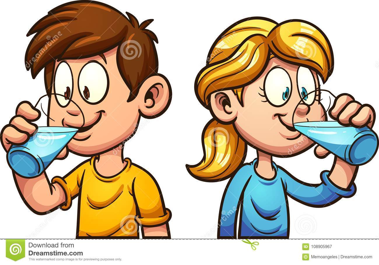 Cartoon Kids Drinking Water Stock Vector.