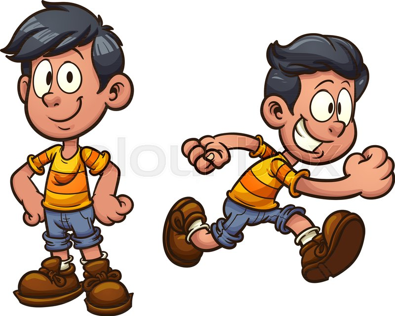 Cute cartoon boy standing and running..