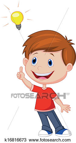 Cartoon boy with big idea Clipart.