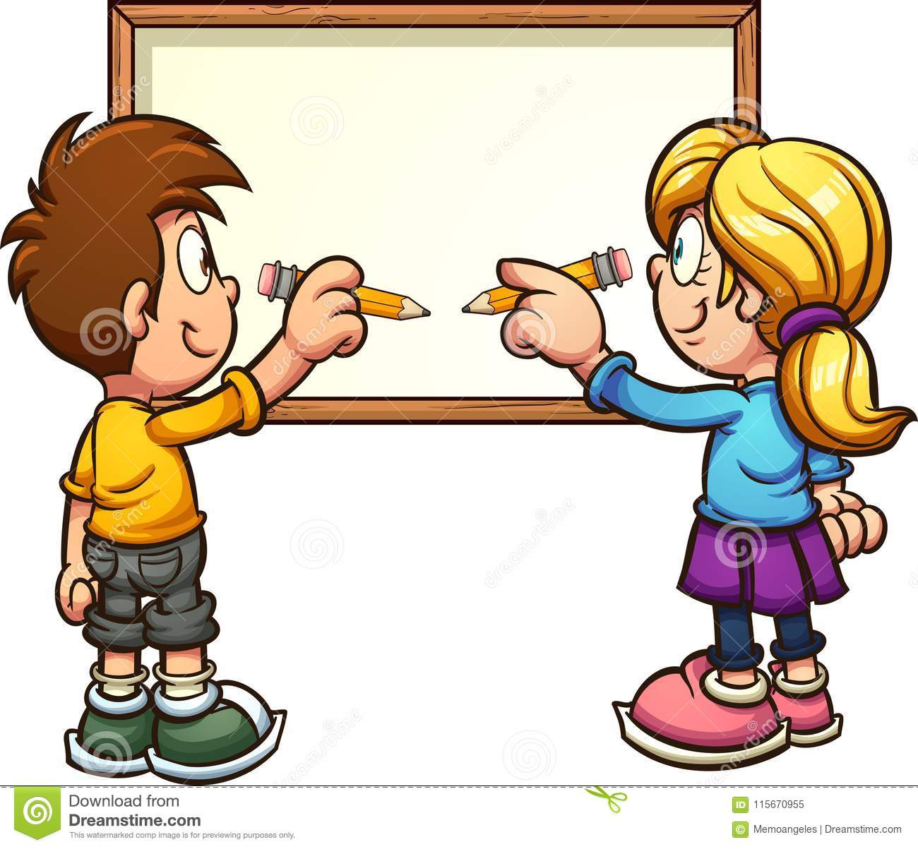 Cartoon Boy And Girl Writing On White Board Stock Vector.