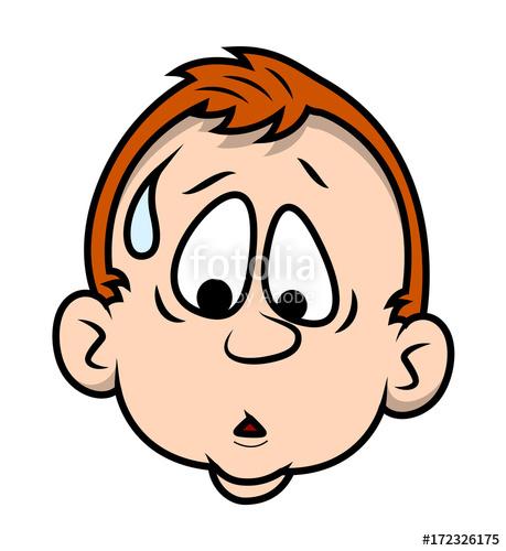 Scared sweat Cartoon Boy Face.