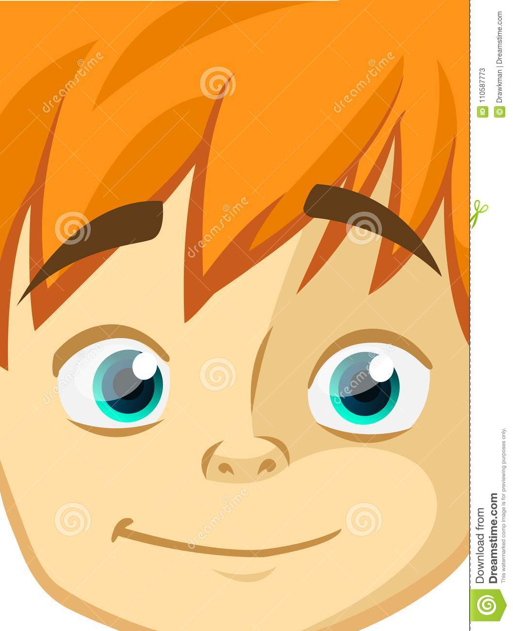 Happy Cartoon Boy Face. Vector Illustration Of A Little Kid Face.