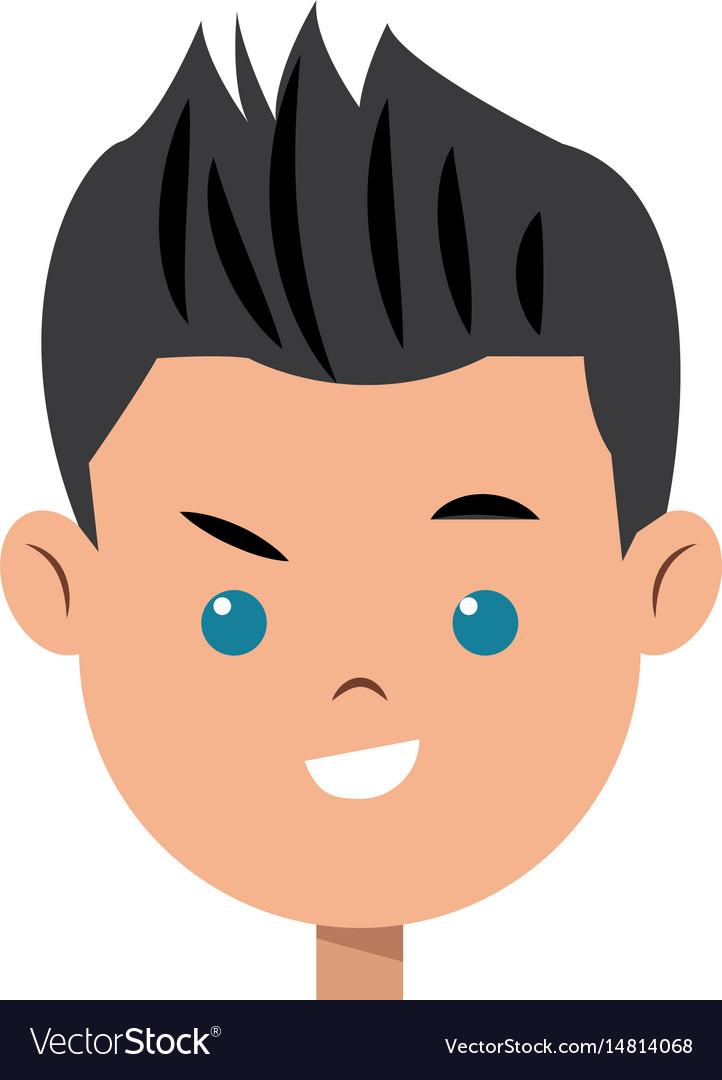 Cartoon character face boy children.