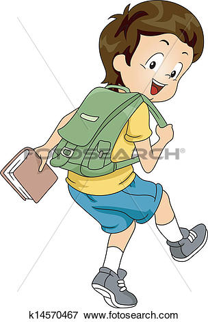 Clip Art of Kid Boy Student with Backpack 2 k14570467.