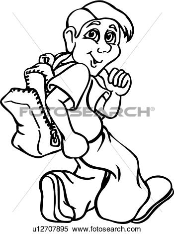 Clipart of , backpack, boy, child, kid, male, school, student.