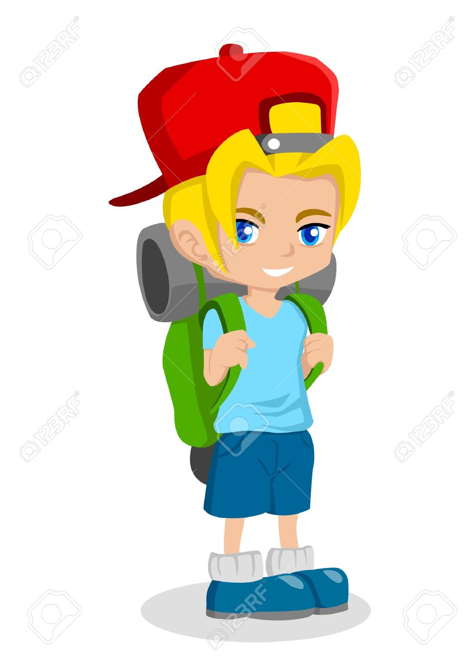 Cartoon Illustration Of A Boy With Backpack Royalty Free Cliparts.